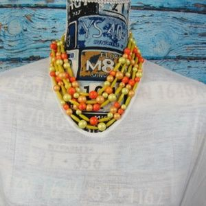 Colorful Yellow and Orange Beaded Necklace